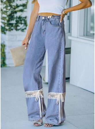 Color Block Lace Long Casual Bowknot Pants