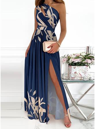 Print Sleeveless A-line Skater Party/Elegant Maxi Dresses