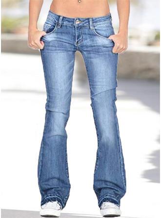 Pockets Plus Size Casual Denim & Jeans