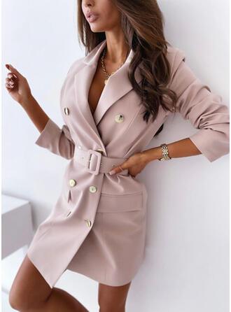 Solid Long Sleeves Sheath Above Knee Elegant Tunic Dresses