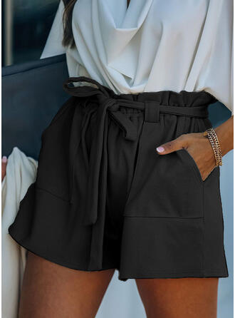 Solid Above Knee Elegant Vacation Plus Size Pocket Shirred Drawstring Pants Shorts