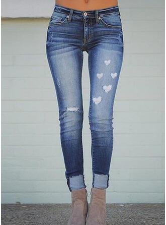 Print Plus Size Ripped Elegant Skinny Denim & Jeans