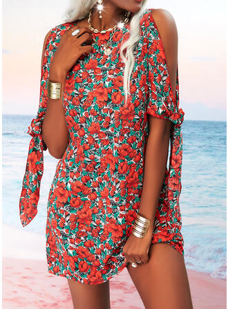 Print/Floral 1/2 Sleeves Slit Sleeve Shift Above Knee Casual Tunic Dresses