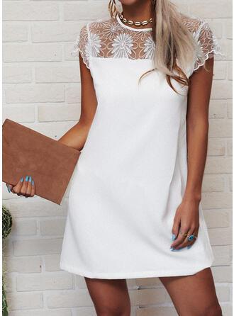 Lace/Solid Cap Sleeve Shift Above Knee Elegant Dresses