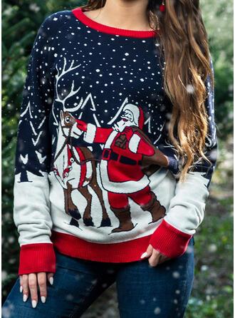Kvinnor polyester Jultomten Ren Ugly Christmas Sweater