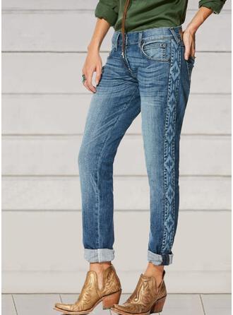 Broderi Shirred Extra stor storlek Elegant Vinobranie Denim & Jeans