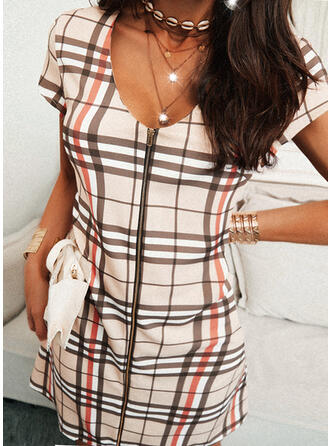 Plaid Short Sleeves Shift Above Knee Casual Tunic Dresses