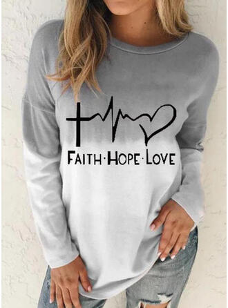 Gradient Heart Print Letter Round Neck Long Sleeves T-shirts