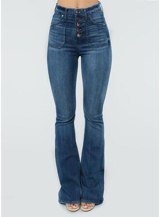 Long Long Solid Denim Denim & Jeans
