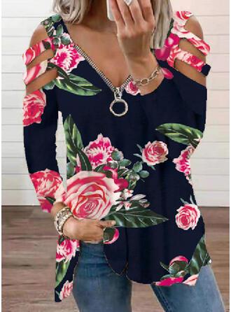 Floral Print Cold Shoulder Long Sleeves T-shirts