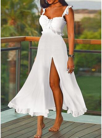 Solid Sleeveless A-line Slip/Skater Elegant Midi Dresses