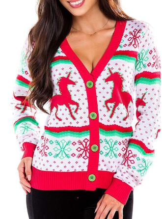 Kvinnor polyester Animaliska Tryck Ugly Christmas Sweater