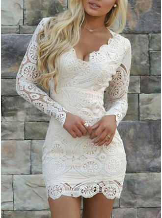 Lace/Solid Long Sleeves Bodycon Above Knee Elegant Dresses