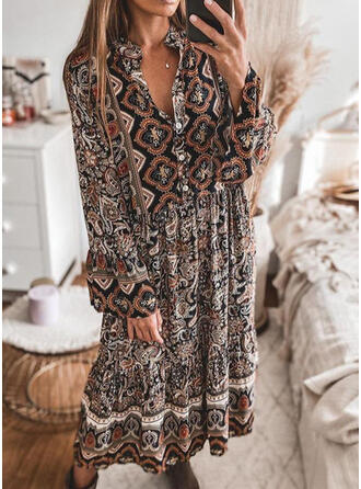 Print Long Sleeves Shift Tunic Casual/Boho Midi Dresses