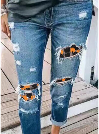 Halloween Plus Size Tribal Long Casual Stitching Ripped Denim & Jeans