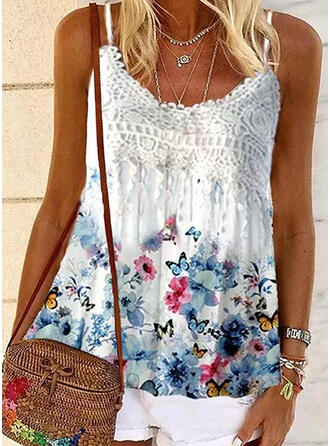 Floral Animal Print Lace Spaghetti Strap Sleeveless Casual Tank Tops