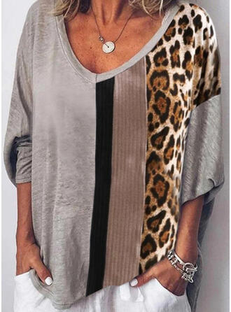 Print Color Block V-Neck Long Sleeves Casual T-shirts
