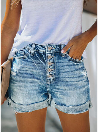 Pockets Shirred Plus Size Above Knee Casual Sexy Denim Shorts