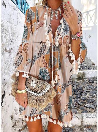 Print 3/4 Sleeves/Flare Sleeves Shift Above Knee Casual/Boho/Vacation Tunic Dresses