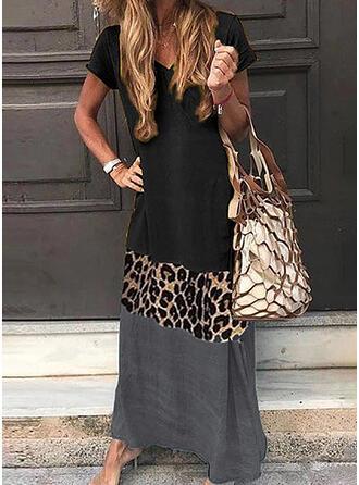 Color Block/Leopard Short Sleeves Shift Casual/Vacation Maxi Dresses