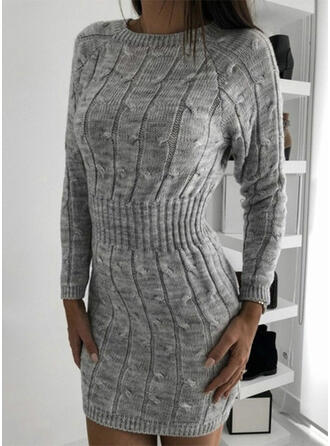 Solid Cable-knit Chunky knit Round Neck Casual Long Sweater Dress