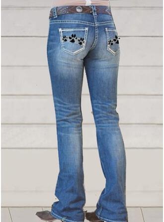Broderi Shirred Elegant Vinobranie Denim & Jeans