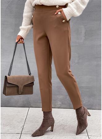 Solid Long Elegant Plus Size Office/Business Pocket Button Pants