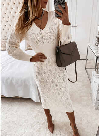Solid V-ringning Casual Lång Tröja klänning