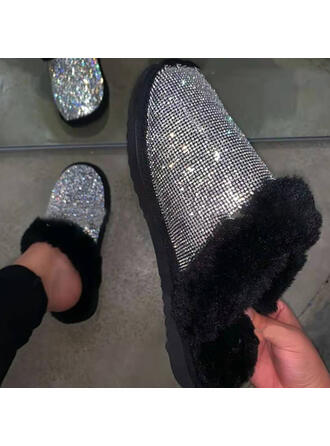 Women's PU Flat Heel Flats With Rhinestone shoes
