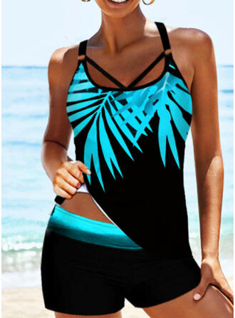 Leaves Print Strap U-Neck Sexy Tankinis Swimsuits