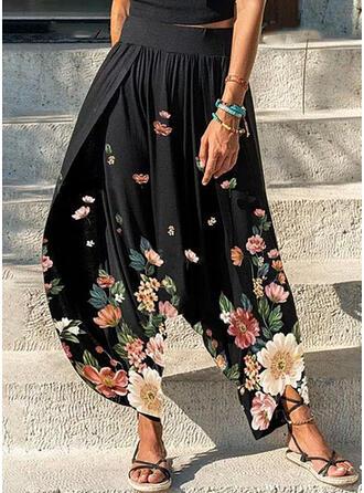 Floral Print Long Plus Size Shirred Lounge Pants