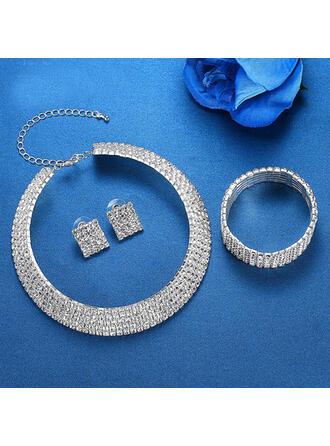 Shining Alloy Rhinestones Jewelry Sets Necklaces Earrings Bracelets (Set of 3)