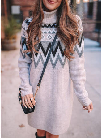 Print Long Sleeves Shift Above Knee Casual Sweater Dresses