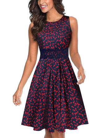 Lace/Print/Floral Sleeveless A-line Knee Length Casual/Elegant Skater Dresses