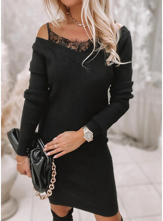 Solid Lace Long Sleeves Cold Shoulder Sleeve Bodycon Above Knee Casual Sweater Dresses