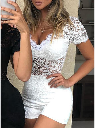 Lace Solid V-Neck Short Sleeves Casual Jumpsuit