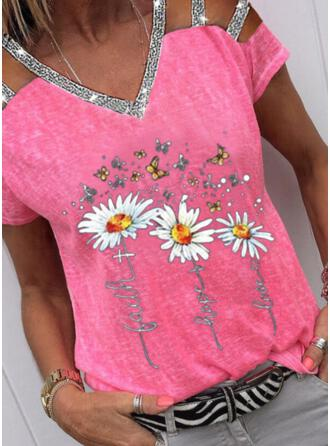 Floral Animal Print Sequins Figure Cold Shoulder Short Sleeves Casual Blouses