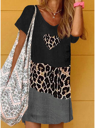 Patchwork/Leopard Short Sleeves Shift Above Knee Casual T-shirt Dresses
