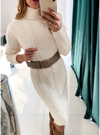 Solid Polotröja Casual Lång Tröja klänning