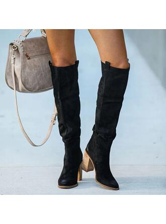 Women's PU Chunky Heel Over The Knee Boots Heels Pointed Toe With Ruched Solid Color shoes