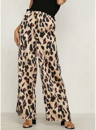 Shirred Leopard Sexig Mager Byxor