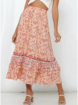 Chiffon Print Floral Mid-Calf A-Line Skirts