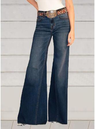 Shirred Plus Size Elegant Sexy Vintage Denim & Jeans