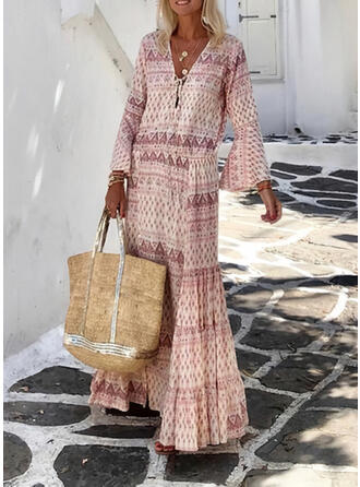 Print Long Sleeves/Flare Sleeves Shift Casual/Boho/Vacation Maxi Dresses