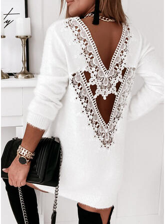 Solid Lace Round Neck Long Sexy Sweater Dress