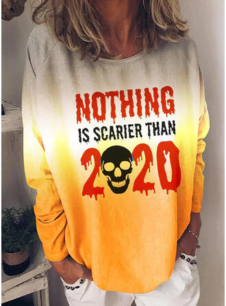Halloween Print Gradient Letter Round Neck Long Sleeves Casual Blouses