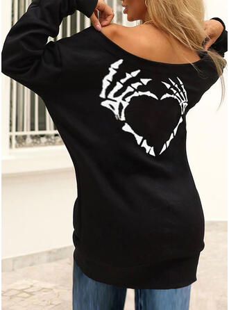 Halloween Print Heart Round Neck Long Sleeves Sweatshirt