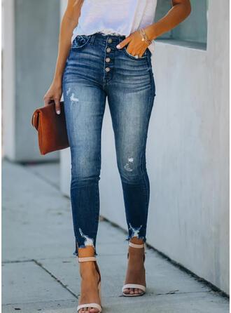 Shirred Extra stor storlek Rev Lång Elegant Sexig Denim & Jeans