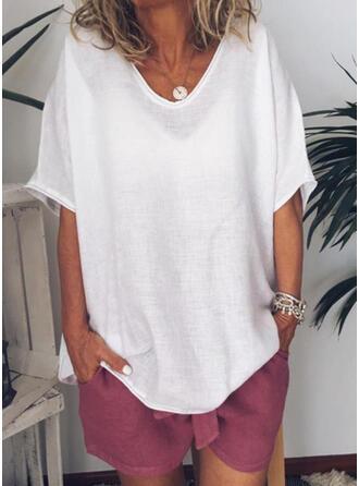 Solid Round Neck Korta ärmar Fritids Basic T-shirts