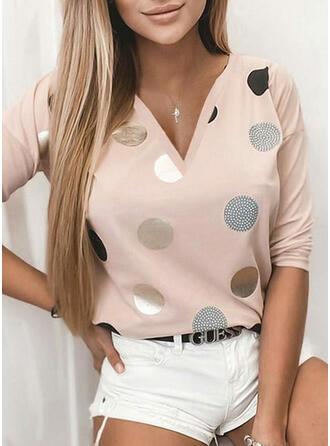 Print PolkaDot V-Neck Long Sleeves Casual T-shirts